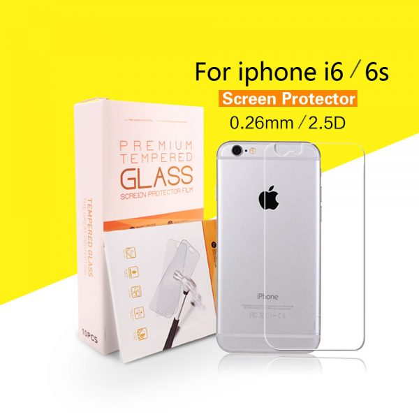 Tempered-Glass-Protector-for-iPhone-6-6S-Back-Case-Film-with-Retail-Box